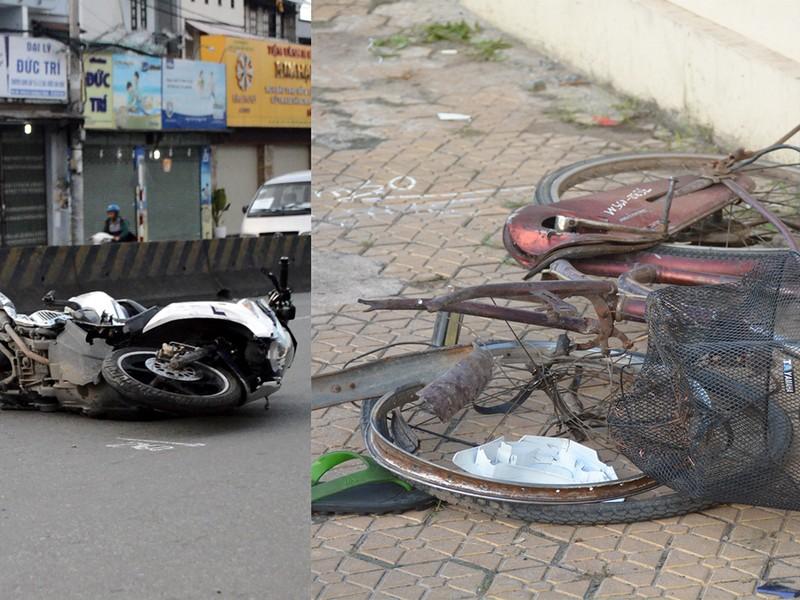 Va chạm xe máy và xe đạp 2 người nguy kịch