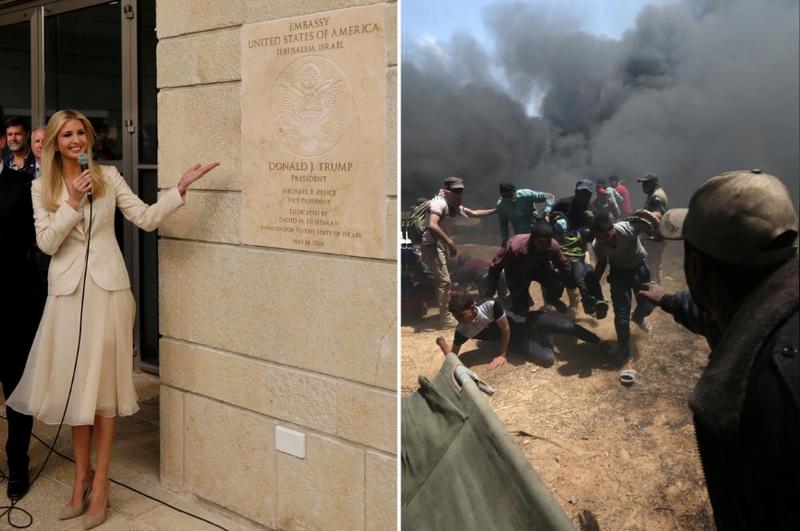 Trái: Cố vấn Nhà Trắng, con gái Tổng thống Trump, cô Ivanka Trump là người dỡ tấm biển ghi công  trước đại sứ quán Mỹ ở Jerusalem. Phải: Người Palestine bị thương trong cuộc biểu tình phản đối Israel và Mỹ tại biên giới Dải Gaza-Israel ngày 14-5. Ảnh: REUTERS