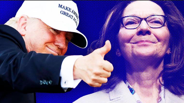 Bà Gina Haspel (phải) được chính Tổng thống Mỹ Donald Trump (trái) đề cử vào vị trí Giám đốc CIA. Ảnh: THE DAILY BEAST
