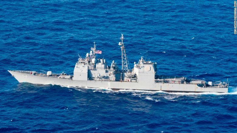 Tàu tuần dương USS Antietam lớp Ticonderoga trang bị tên lửa dẫn đường của Mỹ - một trong hai tàu được hải quân Mỹ triển khai tuần tra Hoàng Sa ngày 27-5. Ảnh: CNN