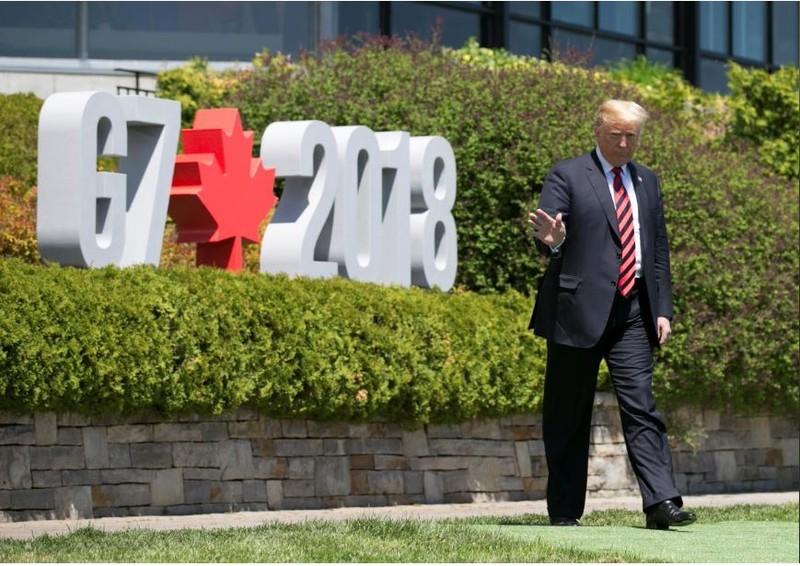 Tổng thống Mỹ Donald Trump tại hội nghị G7 ở TP La Malbaie, Quebec (Canada) ngày 8-6. Ảnh: REUTERS