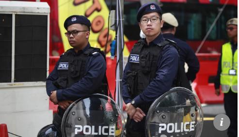 Cảnh sát được huy động giữ an ninh thượng đỉnh Mỹ-Triều. Ảnh: SCMP