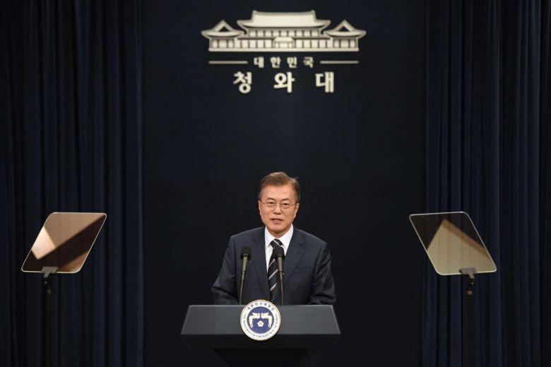 Tổng thống Hàn Quốc Moon Jae-in nói ông đã không ngủ được đêm trước thượng đỉnh Mỹ-Triều. Ảnh: ST