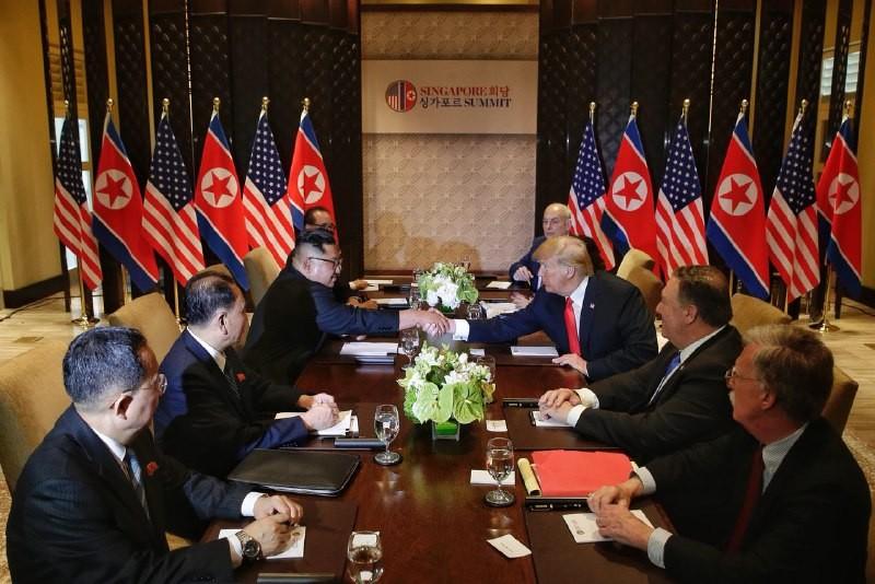 Phiên gặp mở rộng thượng đỉnh Mỹ-Triều sáng 12-6 tại Singapore. Ảnh: CNA