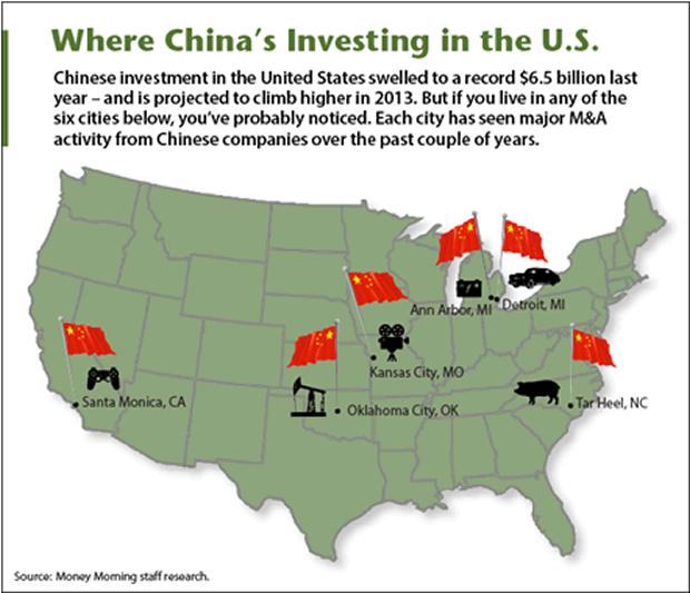 Các TP chính ở Mỹ có nhiều đầu tư Trung Quốc (màu đỏ). Ảnh: MARKET ORACLE