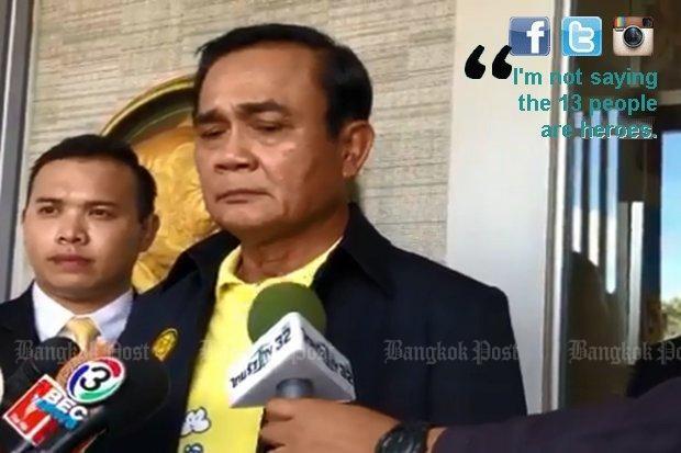 Thủ tướng Thái Lan Prayut Chan-o-cha đề nghị dân mạng thôi chỉ trích các cậu bé và huấn luyện viên vô trách nhiệm khi đi vào hang động để rồi bị mắc kẹt. Ảnh: BANGKOK POST