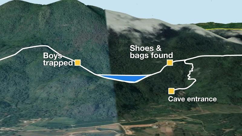 Đồ họa cho thấy địa điểm đội bóng nhí đang ẩn náu sâu trong hang động (ngoài cùng bên trái). Ảnh: