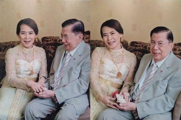 Vợ chồng cựu Thủ tướng Thái Lan Chavalit Yongchaiyudh trong bức ảnh cưới được chia sẻ trên mạng xã hội ngày 10-7. Ảnh: FACEBOOK