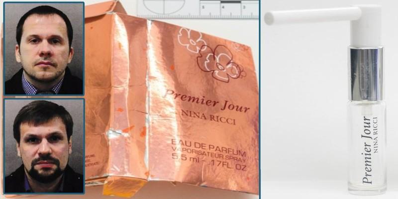 Chai nước hoa nữ 'Premier Jour' của hãng Nina Ricci được dùng chứa chất độc Novichok, và 2 nam nghi can người Nga. Ảnh: BUSINESS INSIDER