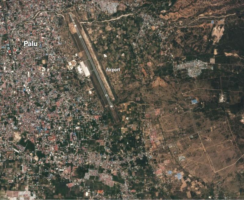 Sân bay Palu trước thảm họa. Ảnh: PLANET