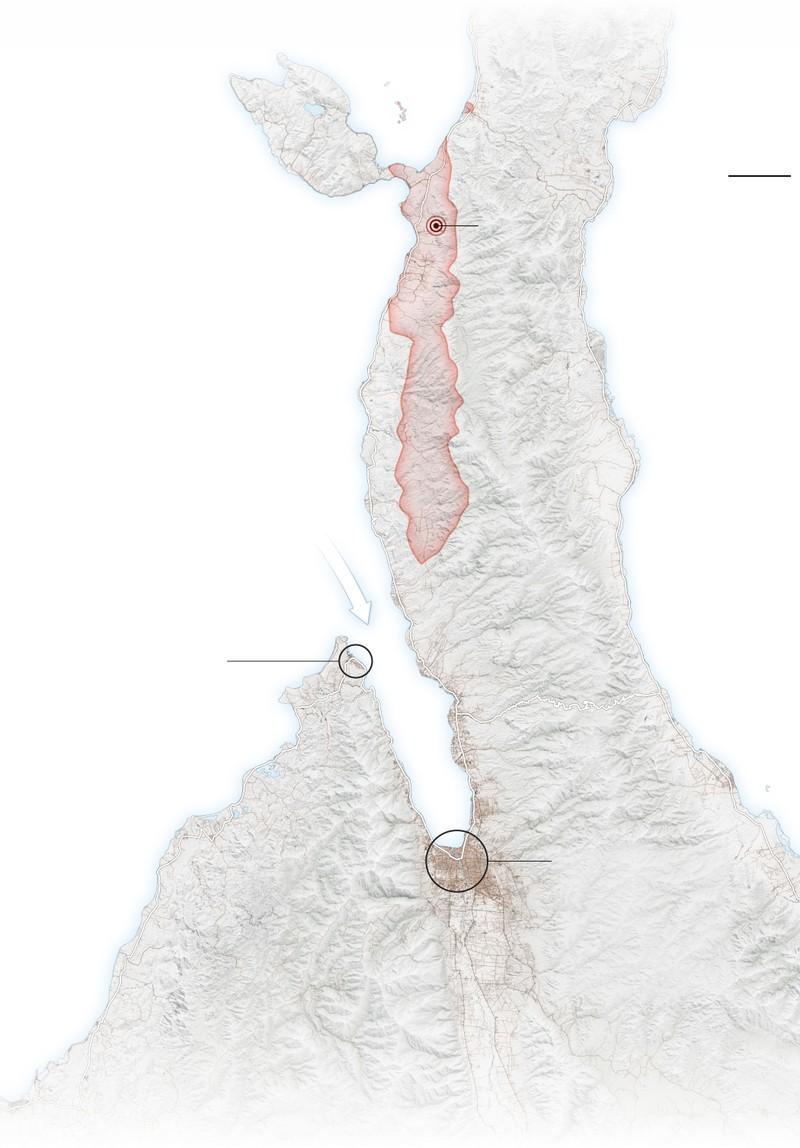 Palu (vòng tròn lớn), Donggala (vòng tròn nhỏ), tâm chấn động đất (vòng tròn màu đỏ). Ảnh: USGS
