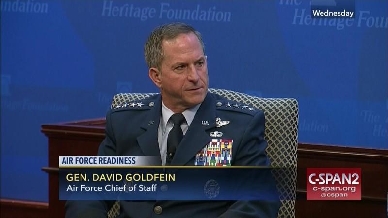 Tướng David Goldfein, đương kim Tham mưu trưởng Không quân có thể sẽ nhận vị trí Chủ tịch Hội đồng Tham mưu trưởng. Ảnh: C-SPAN