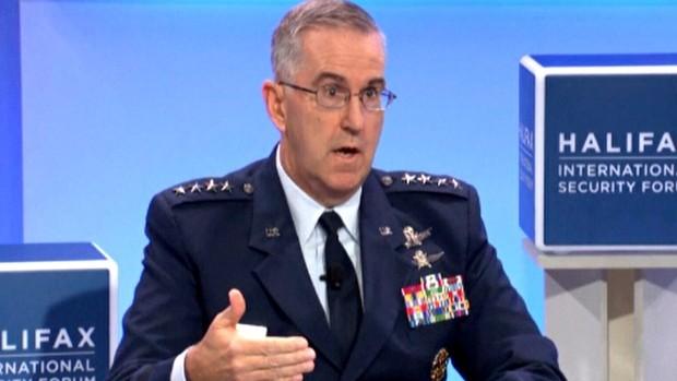 Tướng Không quân John Hyten, Chỉ huy Bộ Tư lệnh chiến lược có thể cạnh tranh vị trí Chủ tịch Hội đồng Tham mưu trưởng với Tướng Goldfein. Ảnh: CTVNEWS