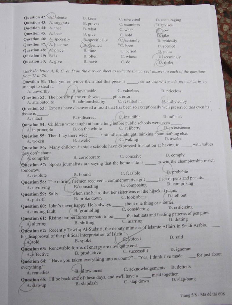 Đề thi tiếng Anh chuyên vào Trường Phổ thông Năng khiếu - ảnh 6