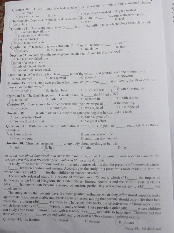 Đề thi tiếng Anh chuyên vào Trường Phổ thông Năng khiếu - ảnh 5