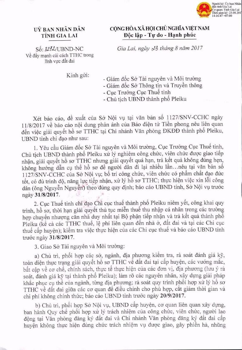 Gia Lai chỉ đạo văn phòng đăng ký đất đai xin lỗi dân - ảnh 2