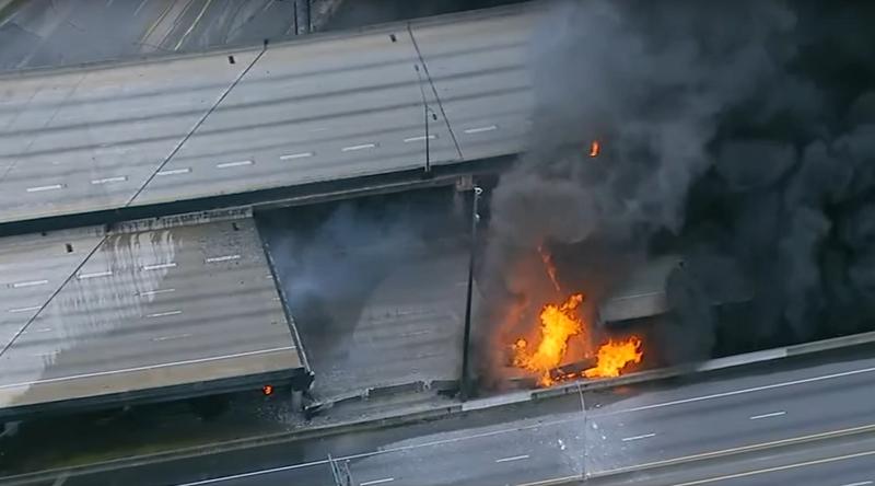 Cháy lớn làm sập đường cao tốc trên cao ở Mỹ - ảnh 2