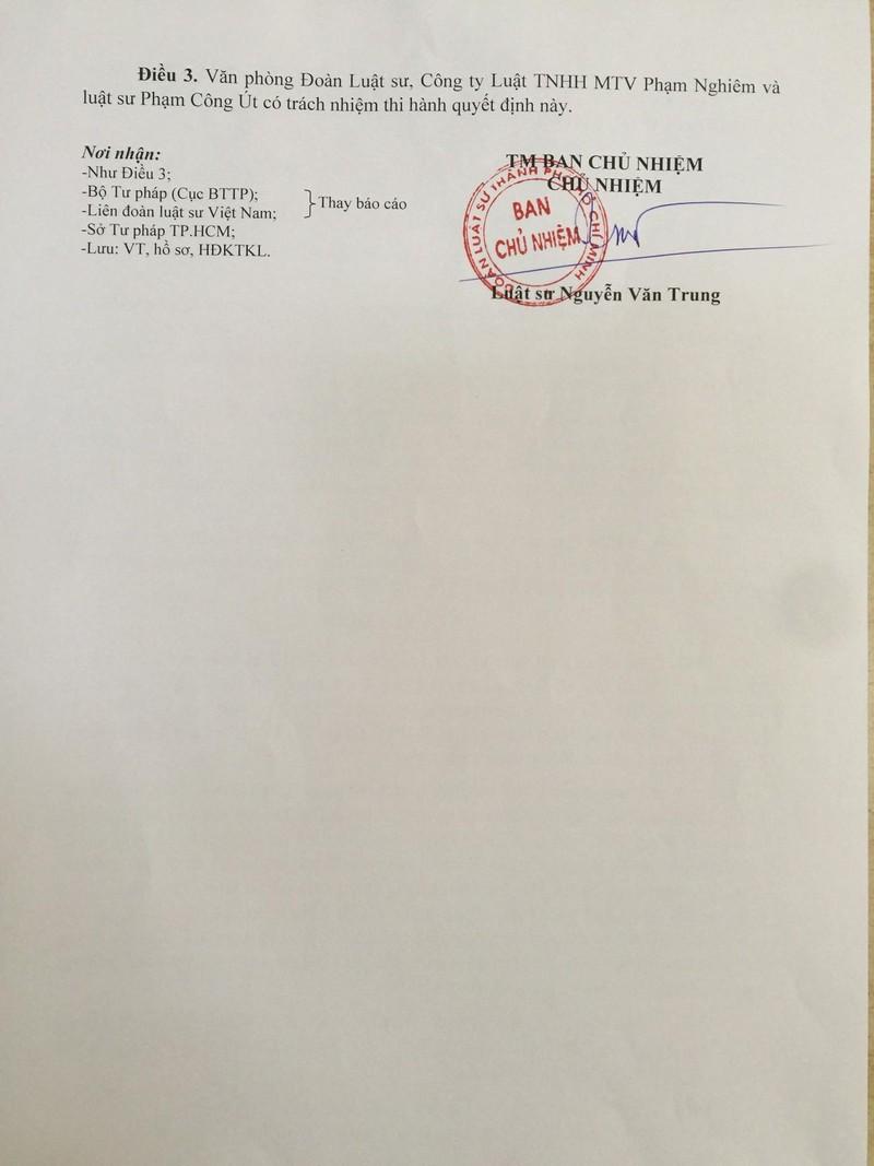 Xóa tên luật sư Phạm Công Út khỏi Đoàn luật sư TP.HCM  - ảnh 3