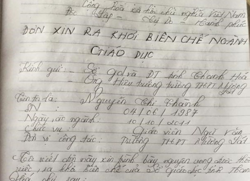 Nữ giáo viên cấp 3 xứ Thanh viết đơn xin ra khỏi ngành - ảnh 1