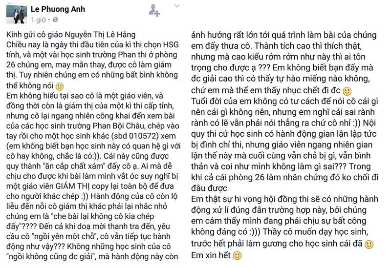 Khiển trách cô giáo bị học sinh tố trên Facebook - ảnh 2