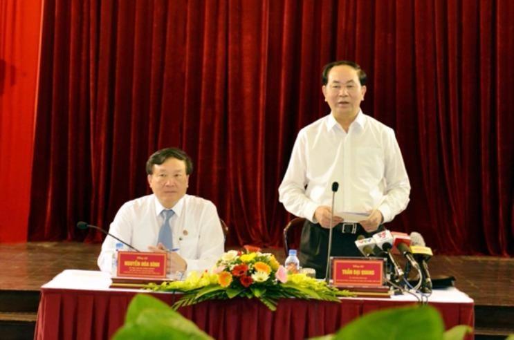 """Chủ tịch nước Trần Đại Quang: """"TAND các cấp cần chú trọng việc thu hồi tài sản bị thất thoát và bị các đối tượng tham nhũng chiếm đoạt."""". Ảnh: MINH GIANG"""