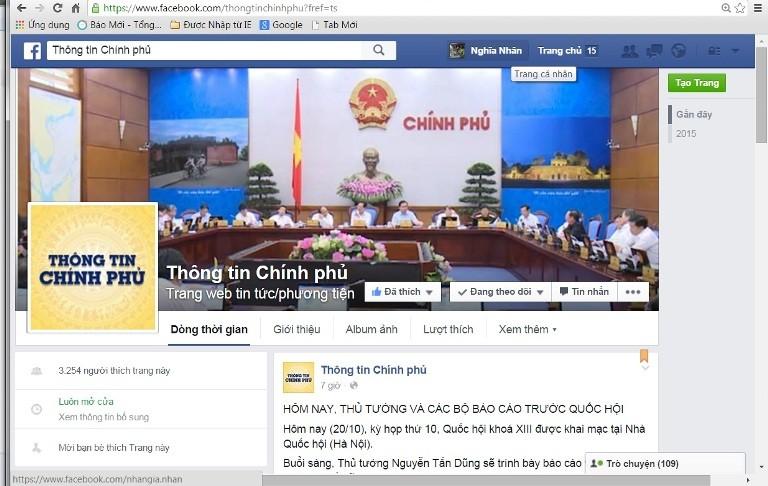 Chính phủ muốn phủ sóng thông tin trên Facebook - ảnh 1