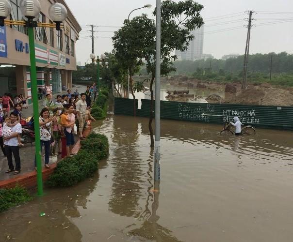 Độc nhất vô nhị: Người Hà Nội đi làm bằng xe ủi do mưa ngập - ảnh 5