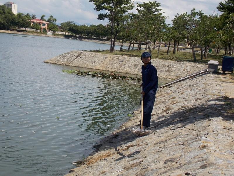 Người dân vớt cá chết mang đi tiêu hủy