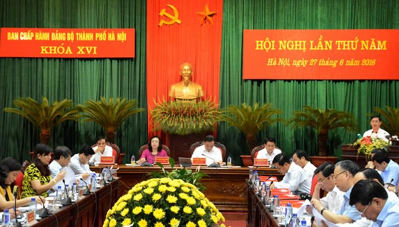 Toàn cảnh hội nghị BCH Đảng bộ Hà Nội khoá XVI lần thứ 5