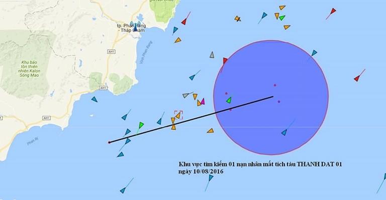 Hải đồ tìm kiếm thuyền viên mất tích