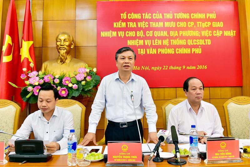 Quang cảnh buổi làm việc sáng 22-9 giữa Tổ công tác của Thủ tướng với Văn phòng Chính phủ