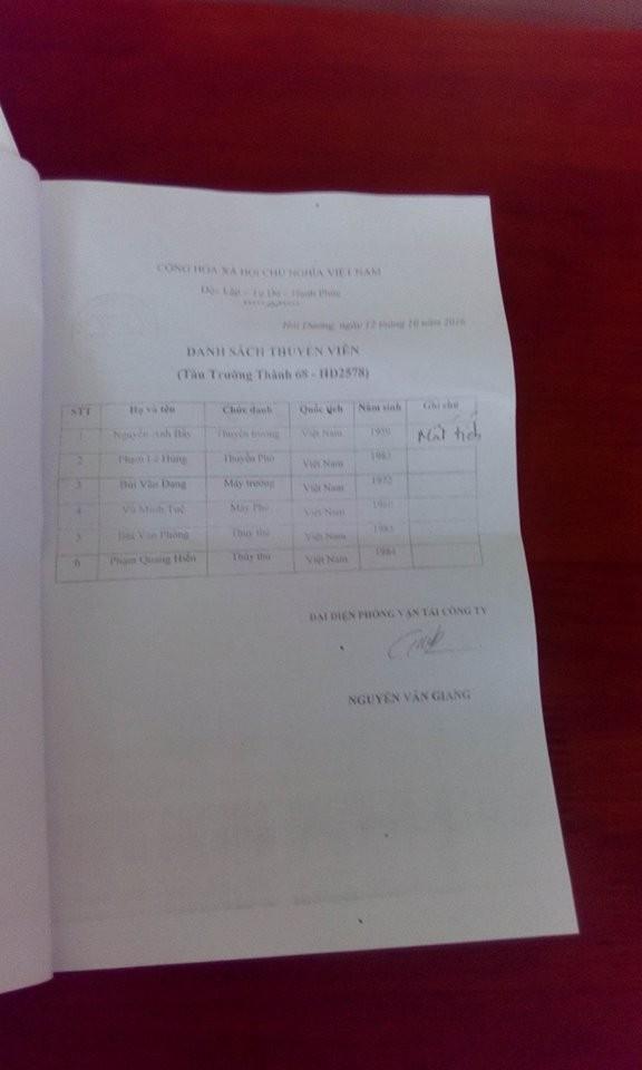 Danh sách các ngư dân gặp nạn