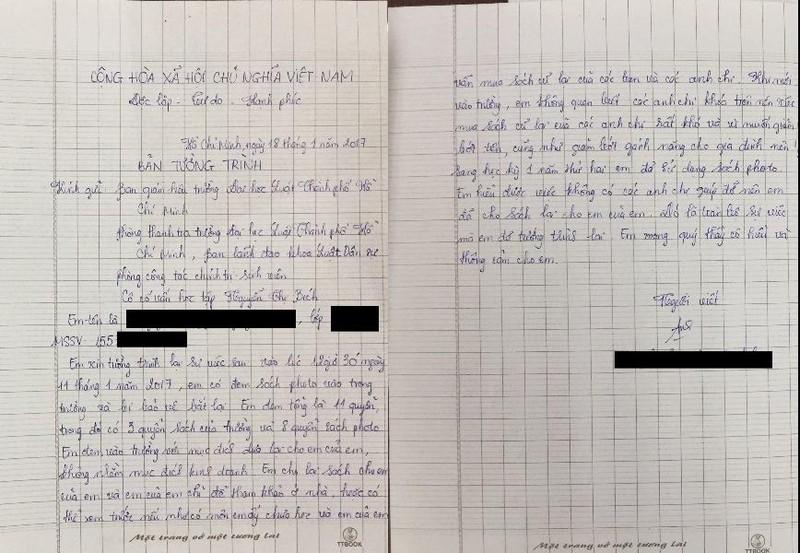 Bản tường trình hoàn cảnh của sinh viên luật photo giáo trình dẫn đến bị đình chỉ học tập 1 năm Ảnh: Quỳnh Như)
