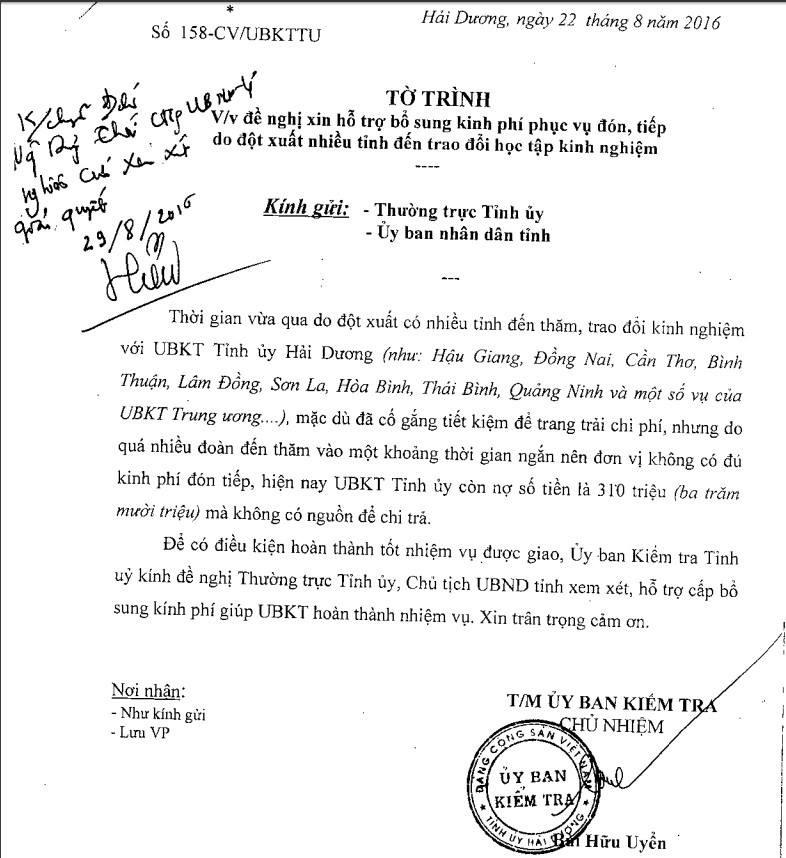 UBKT Tỉnh ủy Hải Dương nợ 310 triệu đồng tiền tiếp khách - ảnh 1