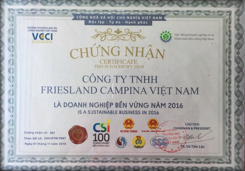 FrieslandCampina Việt Nam: Top 10 Doanh nghiệp Bền vững - ảnh 2