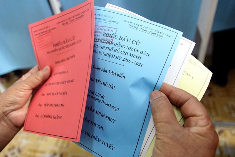 Chùm ảnh: Bí thư Đinh La Thăng đi bầu cử từ sáng sớm - ảnh 5