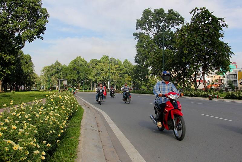 Tuyến đường Hồng Hà với những cây xanh rợp bóng mát.