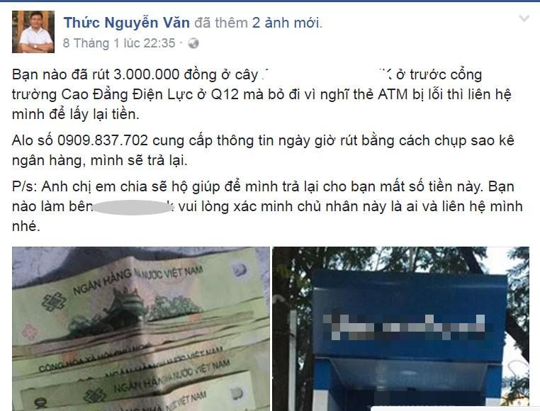 Nhờ facebook tìm được tiền đánh rơi ở trụ ATM - ảnh 1