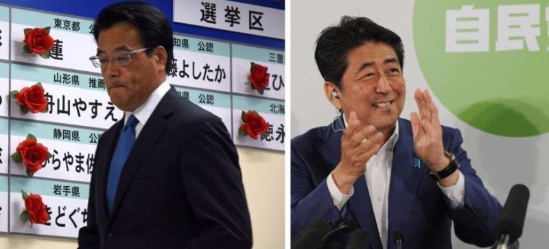 Thủ tướng Shinzo Abe (phải) và Lãnh đạo đảng DJP Katsuya Okada thể hiện sự vui mừng và thất vọng sau kết quả bầu cử Thượng viện.