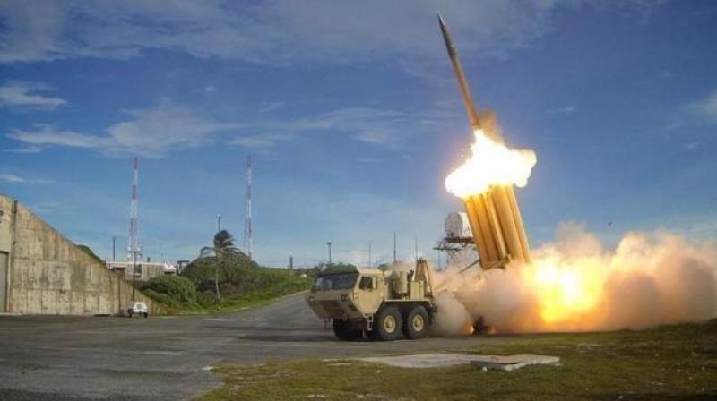 Tên lửa phòng thủ THAAD trong một cuộc thử nghiệm.