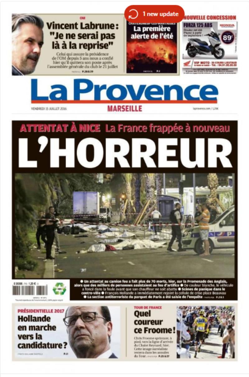 Báo Pháp đưa tin về vụ khủng bố.