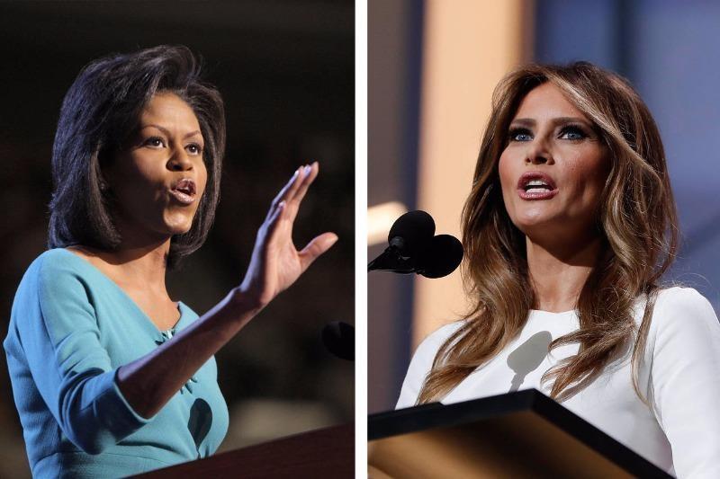 Bà Michelle Obama phát biểu tại đại hội đảng Dân chủ năm 2008 (trái) và bà Milenia Trump phát biểu tại đại hội đảng Cộng hòa ngày 18-7.