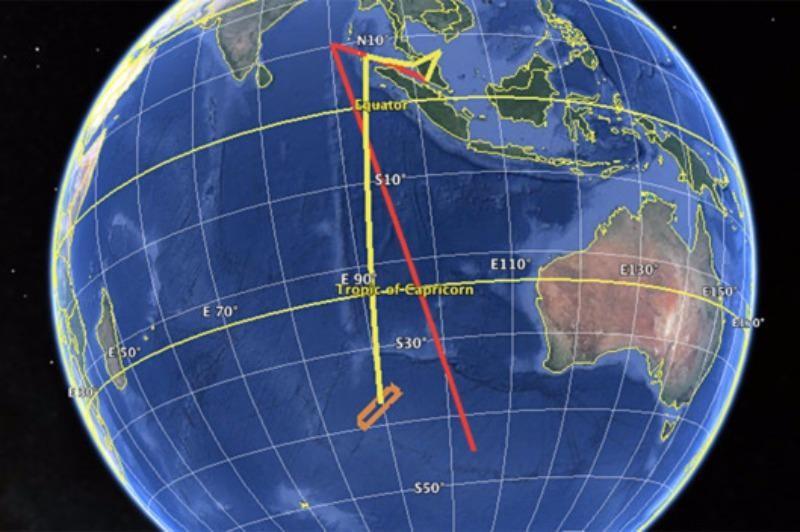 Đường bay thật của chiếc MH370 (màu vàng), và đường bay giả định phi công Zaharie thực hiện (màu đỏ).