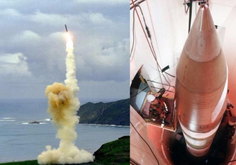 Tên lửa Minuteman III của Mỹ trong một lần phóng (trái), và được chứa trong hầm.