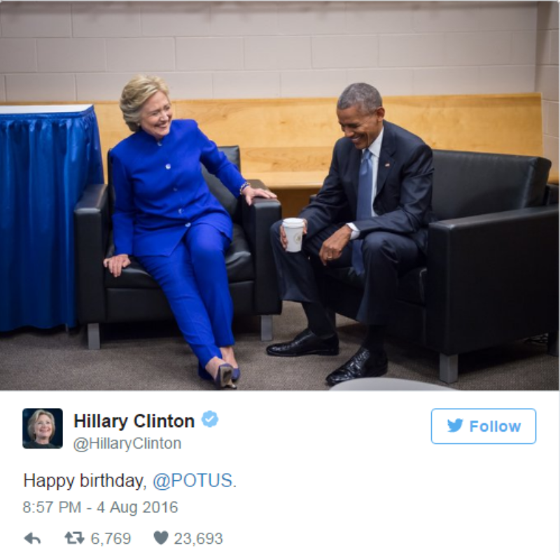 Hillary Clinton mừng sinh nhật Obama