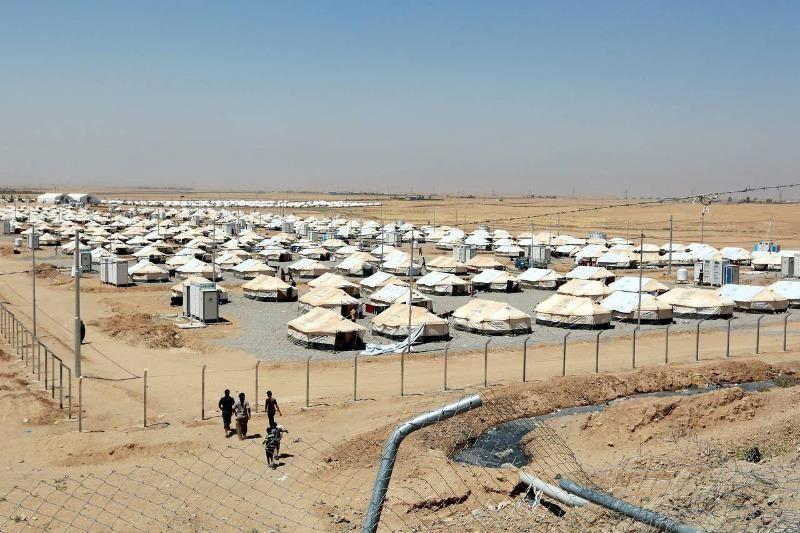Một trại tị nạn tại thị trấn Dibaga, ngoại ô Mosul (Iraq) ngày 23-7.