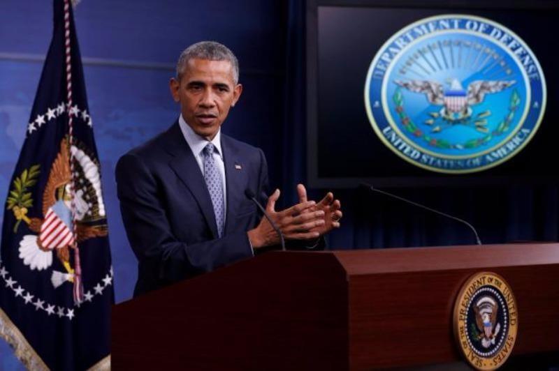 Tổng thống Mỹ Obama trong một cuộc họp báo về quân sự tại trụ sở Bộ Quốc phòng Mỹ ngày 4-8.