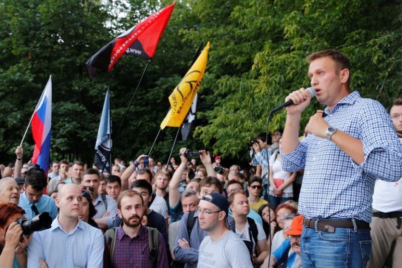 Nhà hoạt động đối lập Aleksei A. Navalny phát biểu tại cuộc biểu tình ngày 9-8 ở Moscow (Nga).