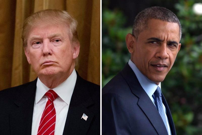 Tổng thống Obama (phải) nói ông cảm thấy phát mệt khi phải nói về ông Trump (trái).