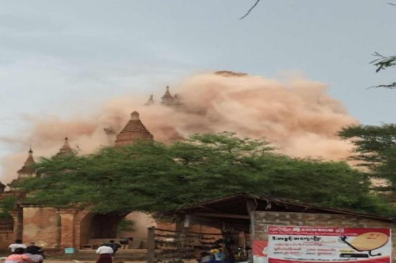 Động đất tàn phá các ngôi chùa cổ ở TP Bagan (Myanmar) ngày 24-8.